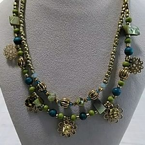 Jewelry - Teal and Green Floral Necklace